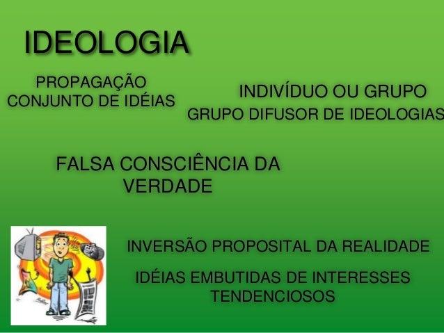 IDEOLOGIA PROPAGAÇÃO CONJUNTO DE IDÉIAS INDIVÍDUO OU GRUPO FALSA CONSCIÊNCIA DA VERDADE INVERSÃO PROPOSITAL DA REALIDADE G...