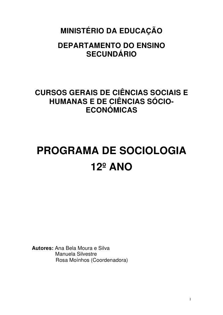 MINISTÉRIO DA EDUCAÇÃO          DEPARTAMENTO DO ENSINO                SECUNDÁRIO      CURSOS GERAIS DE CIÊNCIAS SOCIAIS E ...