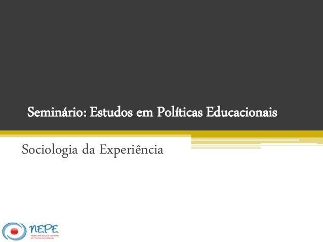 Seminário: Estudos em Políticas Educacionais Sociologia da Experiência