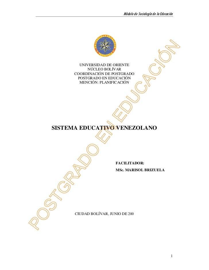 Módulo de Sociología de la Educación        UNIVERSIDAD DE ORIENTE           NÚCLEO BOLÍVAR      COORDINACIÓN DE POSTGRADO...