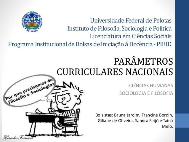 Universidade FederaldePelotas InstitutodeFilosofia,SociologiaePolítica LicenciaturaemCiênciasSociais ProgramaInstitucional...