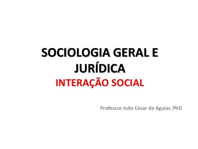 SOCIOLOGIA GERAL E JURÍDICA INTERAÇÃO SOCIAL Professor Julio Cesar de Aguiar, PhD
