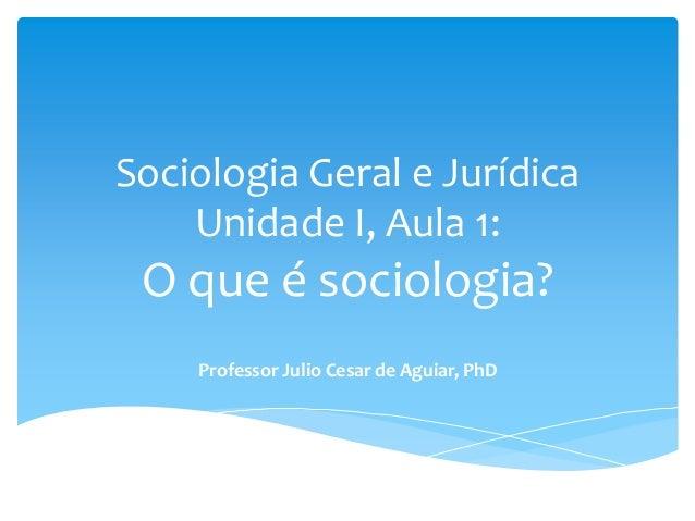 Sociologia Geral e Jurídica Unidade I, Aula 1: O que é sociologia? Professor Julio Cesar de Aguiar, PhD