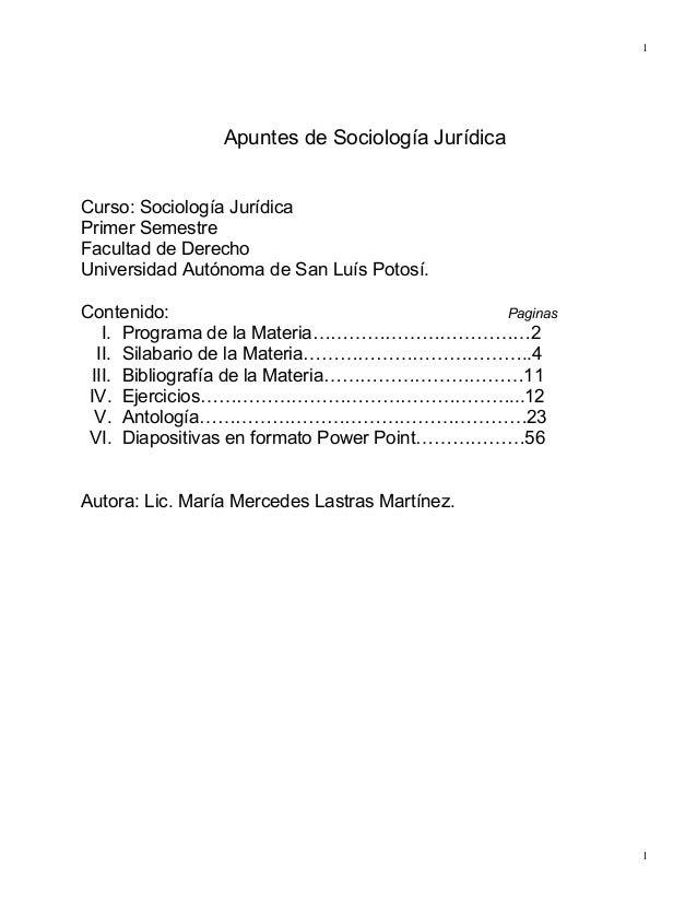 1                 Apuntes de Sociología JurídicaCurso: Sociología JurídicaPrimer SemestreFacultad de DerechoUniversidad Au...