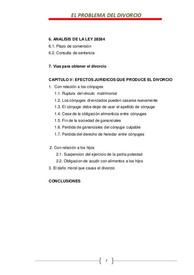 EL PROBLEMA DEL DIVORCIO 7 6. ANALISIS DE LA LEY 28384 6.1. Plazo de conversión 6.2. Consulta de sentencia 7. Vias para ob...