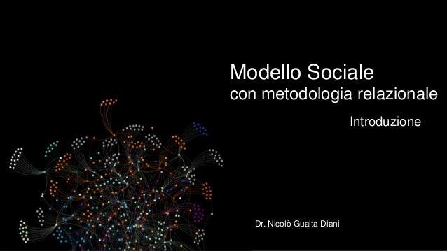 Modello Sociale con metodologia relazionale Introduzione  Dr. Nicolò Guaita Diani