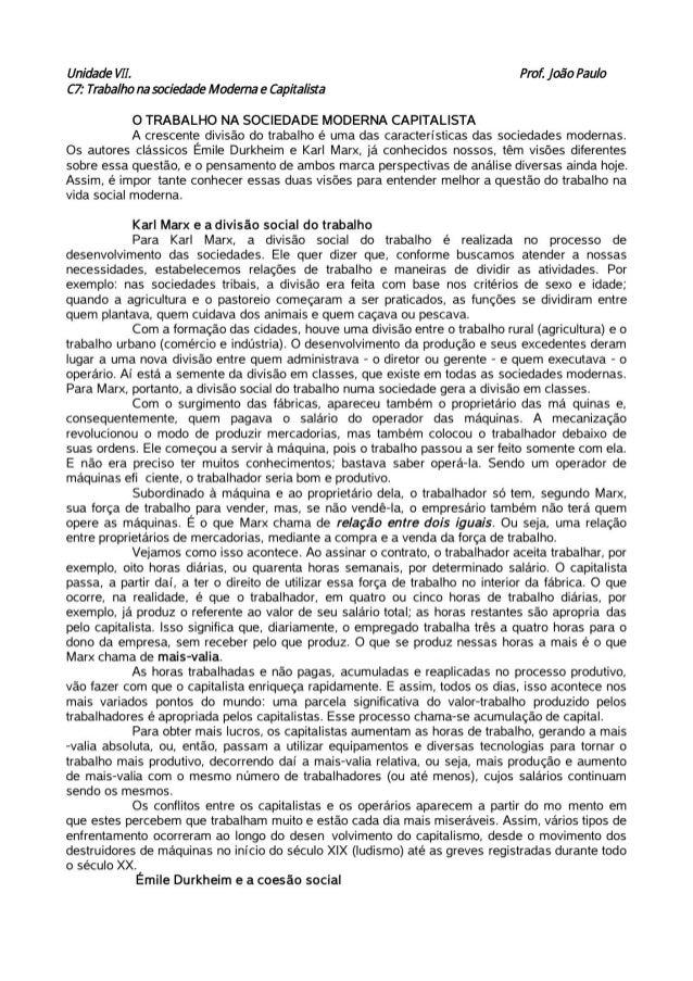 Sociologia Unidades VII e VIII.