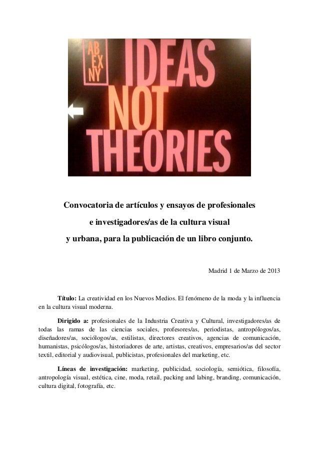 Convocatoria de artículos y ensayos de profesionales                    e investigadores/as de la cultura visual          ...