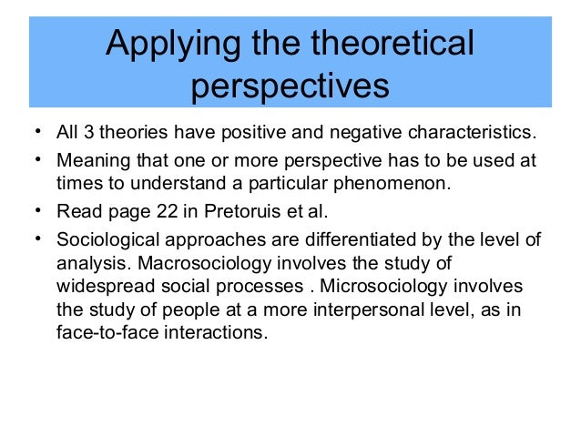 three theoretical approaches to sociology View essay - 3 major theoretical approaches in sociology paper from soc 201 at malone university running head: 3 major theoretical approaches in sociology 3 major.