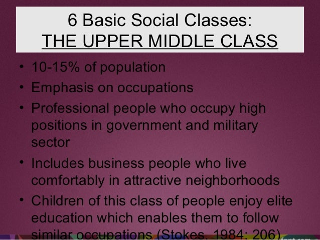 6 Basic Social Classes: THE UPPER MIDDLE CLASS • 10-15% of population • Emphasis on occupations • Professional people who ...