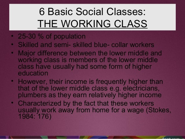 6 Basic Social Classes: THE WORKING CLASS • 25-30 % of population • Skilled and semi- skilled blue- collar workers • Major...