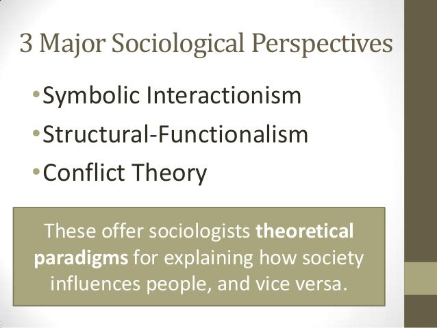 the functionalist perspective the conflict perspective and the symbolic interactionist perspective Symbolic interactionism is a sociological theory that develops from practical considerations and alludes to people's particular utilization of dialect to make images, normal implications, for deduction and correspondence with others.