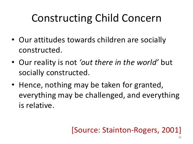 social construction on childhood The social construction of childhood points out that childhood is dependent on a number of social factors rather than a biological stage sociologists argue about .
