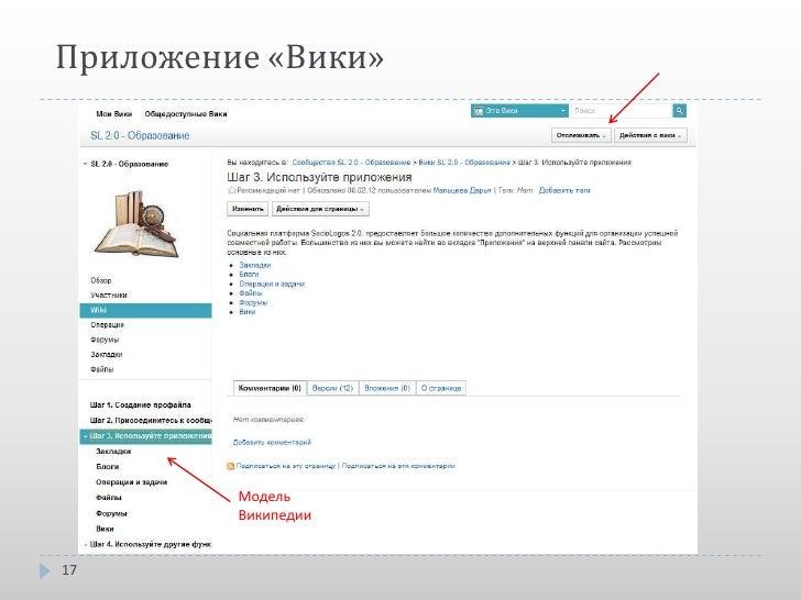 Приложение «Вики»         Модель         Википедии17