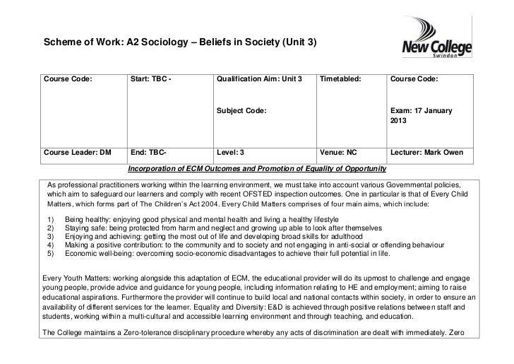 Scheme of Work: A2 Sociology – Beliefs in Society (Unit 3)Course Code:                Start: TBC -               Qualifica...