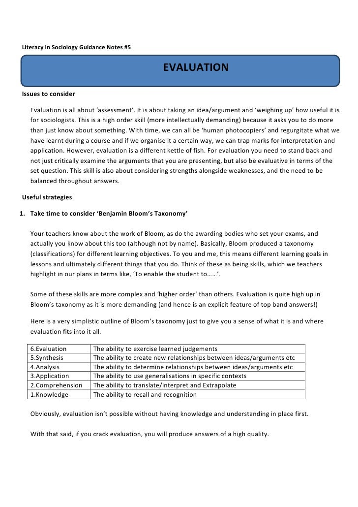 Literacy in Sociology Guidance Notes #5                                                  EVALUATIONIssues to consider   Ev...