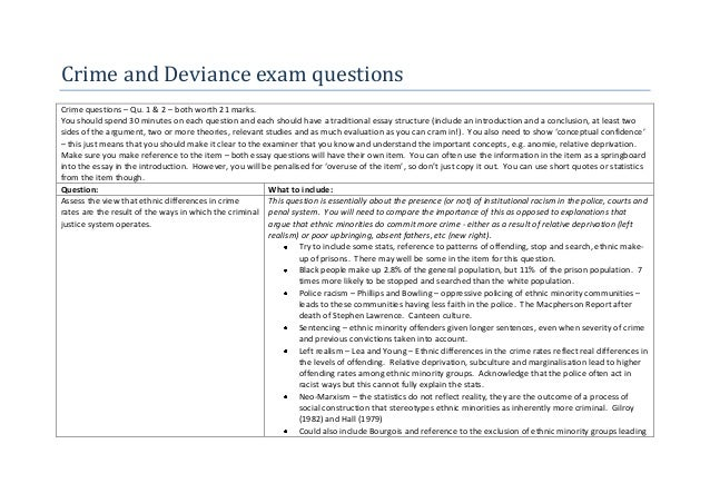 Crime and Deviance exam questionsCrime questions – Qu. 1 & 2 – both worth 21 marks.You should spend 30 minutes on each que...
