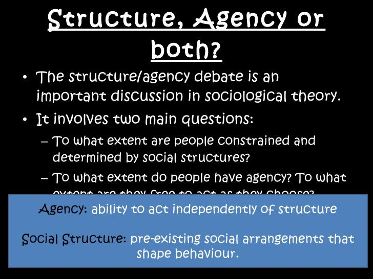 structure and agency sociology essay