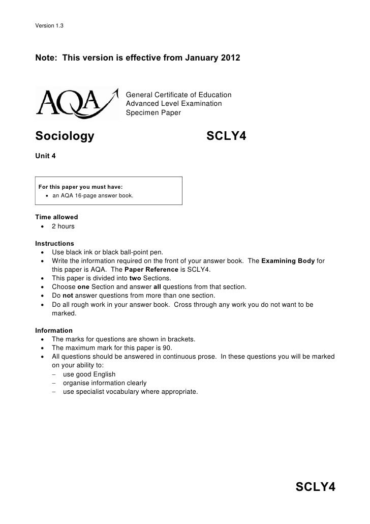 Version 1.3Note: This version is effective from January 2012                             General Certificate of Education ...