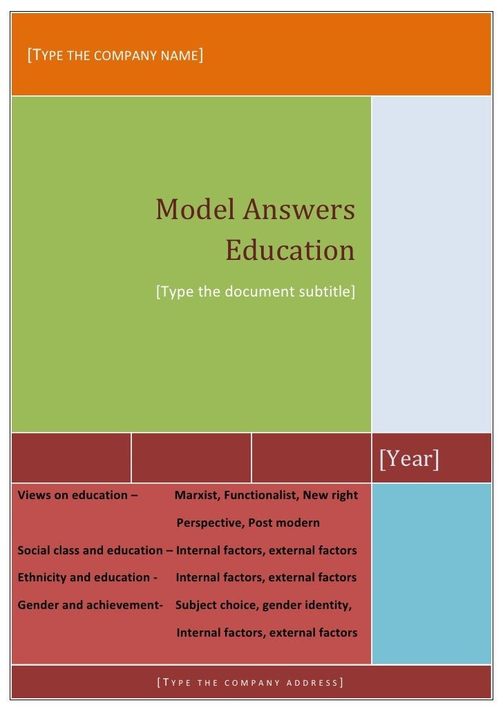 [TYPE THE COMPANY NAME]                         Model Answers                             Education                       ...