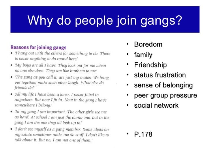 Why youth become involved in gangs