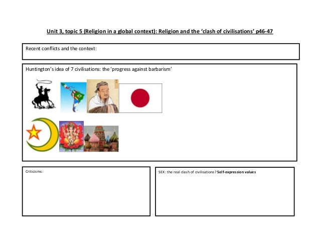 Unit 3, topic 5 (Religion in a global context): Religion and the 'clash of civilisations' p46-47Recent conflicts and the c...