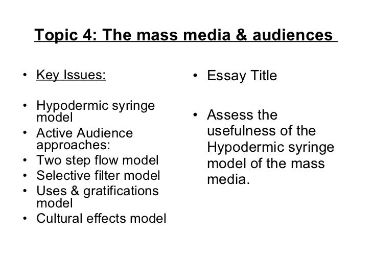 assess the usefulness of the hypodermic syringe model of the mass media essay This is often referred to as the hypodermic syringe model (kitzinger, 2004) this can be argued to hold a powerful effect, as the amount of emotion produced by these offences could be why the media choose to report on it.