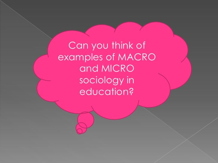 Can you think of examples of MACRO and MICRO sociology in education?<br />