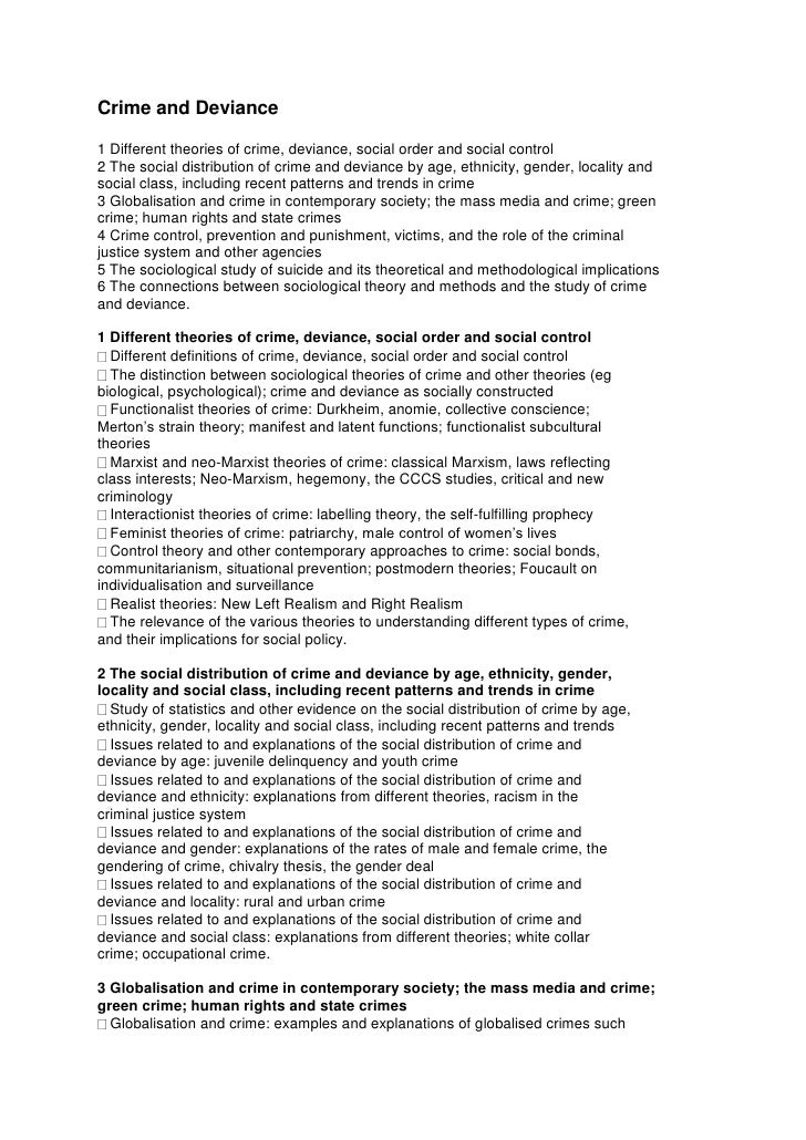 Crime and Deviance1 Different theories of crime, deviance, social order and social control2 The social distribution of cri...