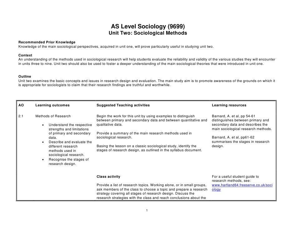 AS Level Sociology (9699)                                                        Unit Two: Sociological MethodsRecommended...