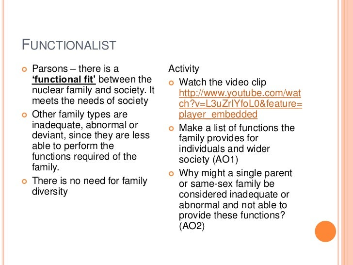 functionalist view on same sex families essay