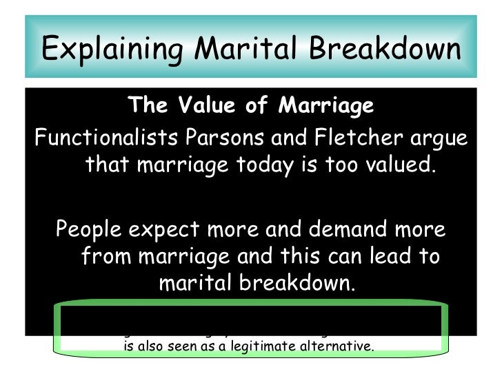 parsons argue of marital breakdowns Family and intimate relationships: a review of the influential work of talcott parsons focused on change and marriage were seen as generating.