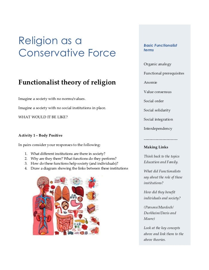 Religion as a Conservative Force<br />rightcenterBasic Functionalist termsOrganic analogyFunctional prerequisitesAnomieVal...