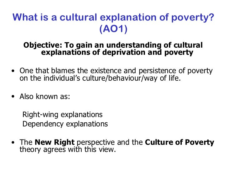 culture of poverty theory essay The culture of poverty is a concept in social theory that expands on the idea of a cycle of povertyit attracted academic and policy attention in the 1970s, survived harsh academic criticism.