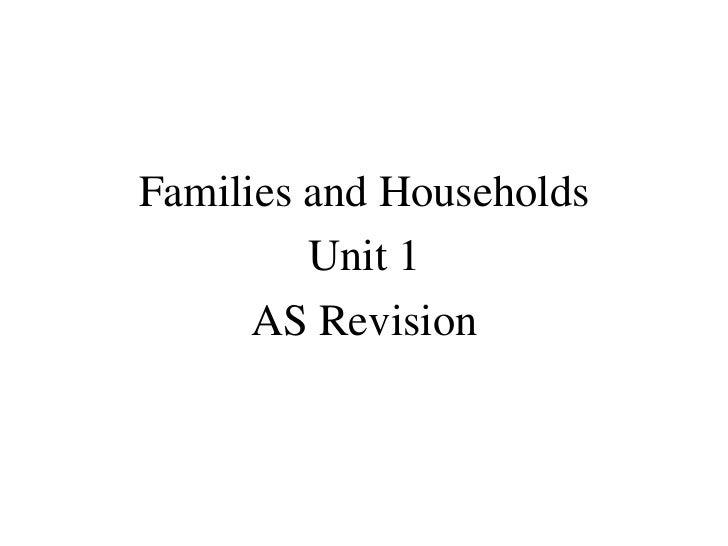 <ul><li>Families and Households </li></ul><ul><li>Unit 1 </li></ul><ul><li>AS Revision </li></ul>