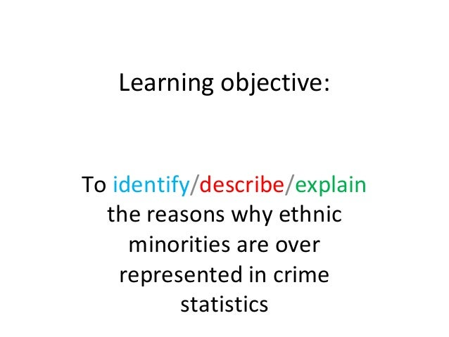 Learning objective:To identify/describe/explain  the reasons why ethnic     minorities are over    represented in crime   ...