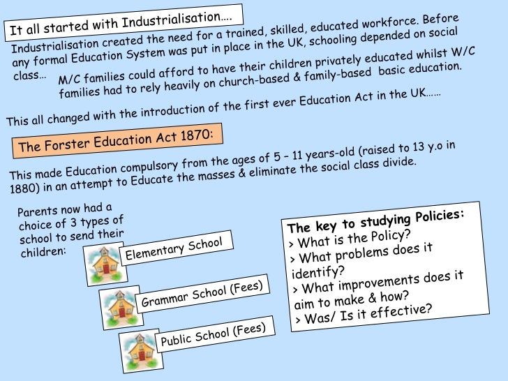 evaluating the 1870 forster education act Be able to evaluate the impact of educational policies on inequality of  the forster education act 1870:this made education.