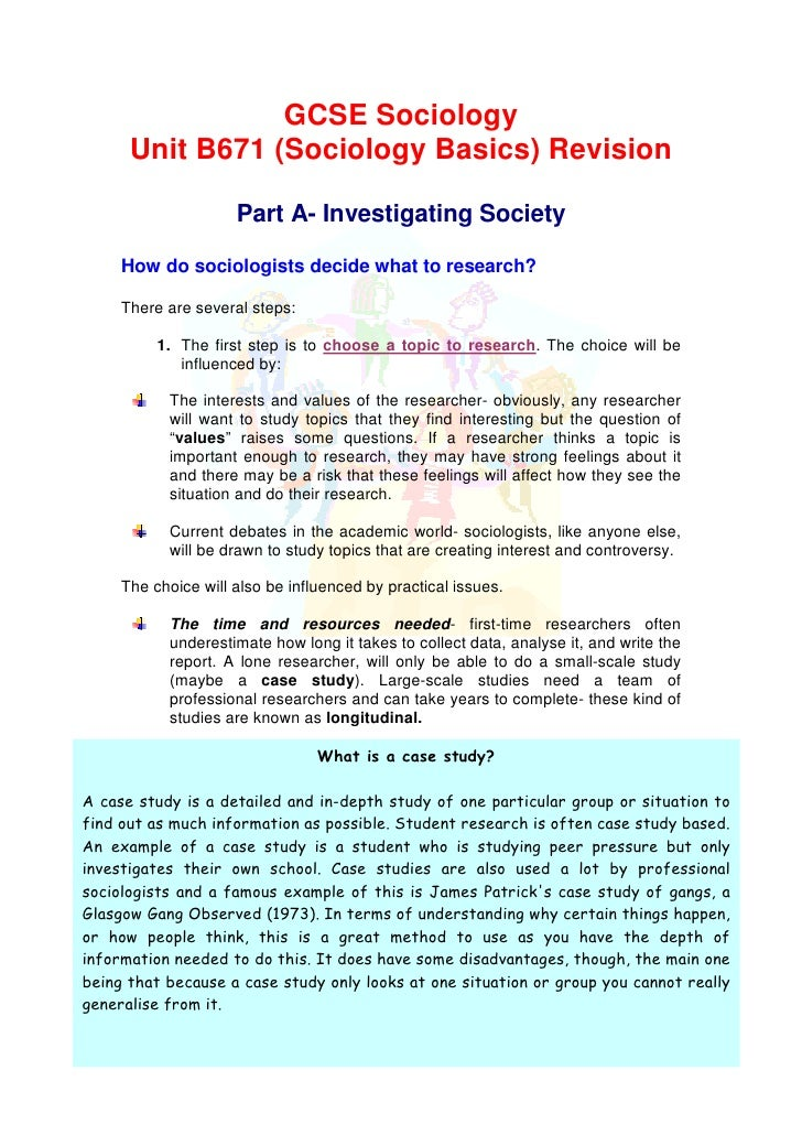 GCSE Sociology      Unit B671 (Sociology Basics) Revision                     Part A- Investigating Society     How do soc...