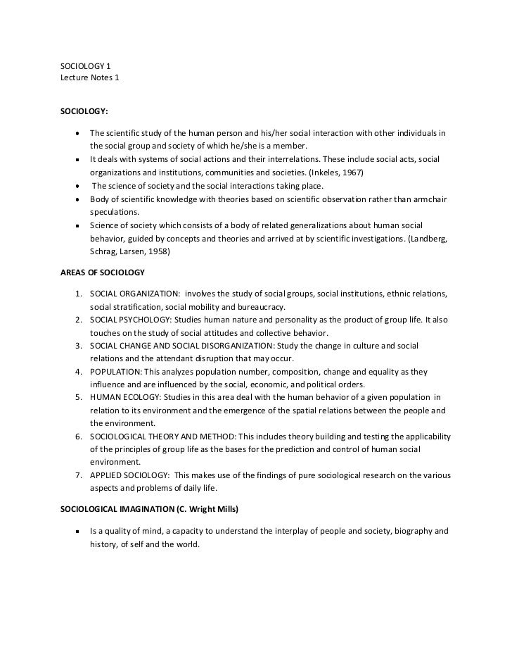 SOCIOLOGY 1Lecture Notes 1SOCIOLOGY:       The scientific study of the human person and his/her social interaction with ot...