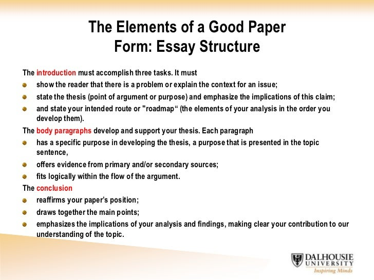 elements of an essay with examples