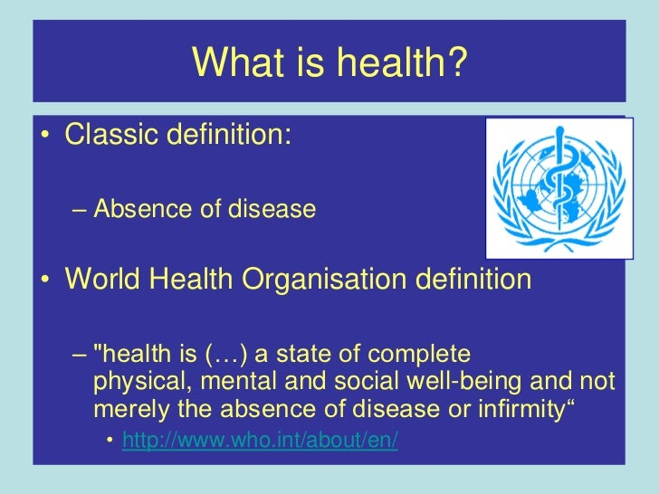 Defining what health is