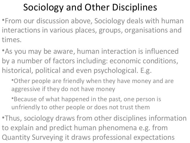 sociology and other disciplines