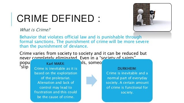 sociology of crime and punishment Crime is defined as an act that the law makes punishable and is often called an offense it is an offense against the public, as compared to a tort.