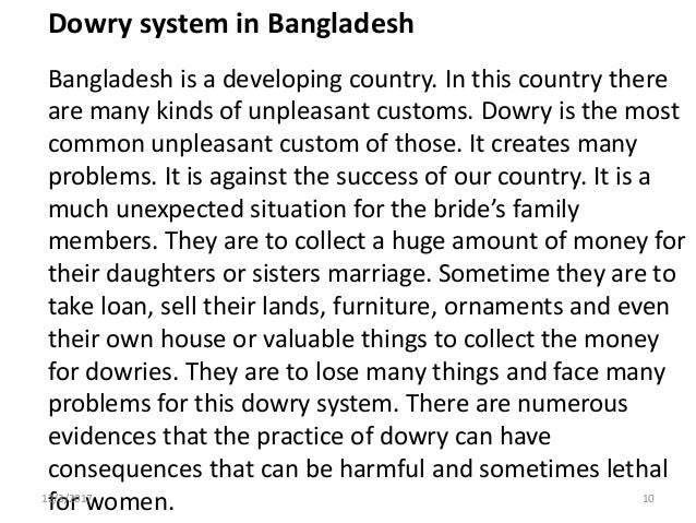 a paragraph on dowry system