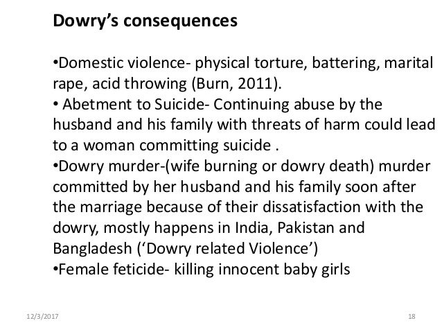 dowry violence Islamabad, feb 22: dowry is given as gift but it becomes violence when it is demanded this view presented by dr rakshinda perveen in a talk at the centre for democratic development of the human.