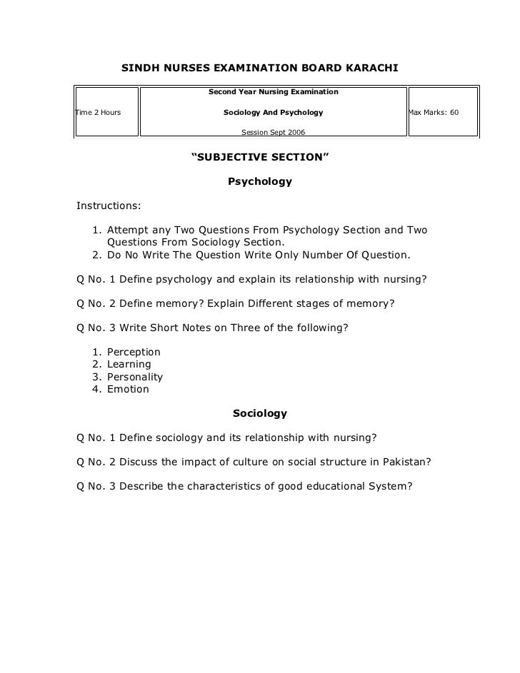SINDH NURSES EXAMINATION BOARD KARACHI                          Second Year Nursing ExaminationTime 2 Hours               ...