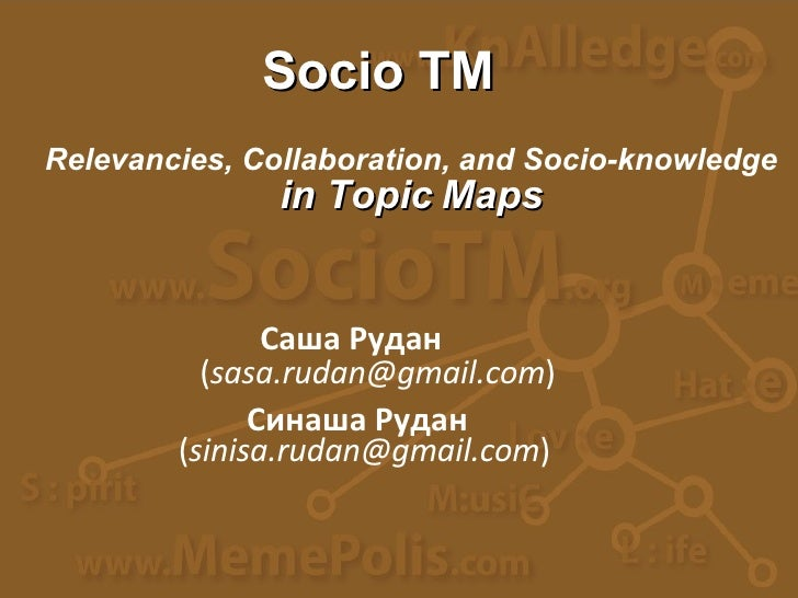 Саша Рудан Relevancies, Collaboration,   and Socio-knowledge in Topic Maps ( [email_address] ) ( [email_address] ) Синаша ...