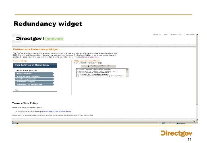 Redundancy widget