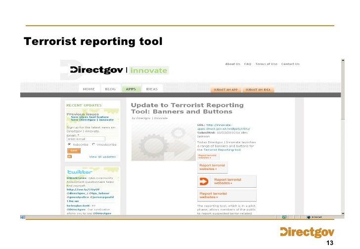 Terrorist reporting tool