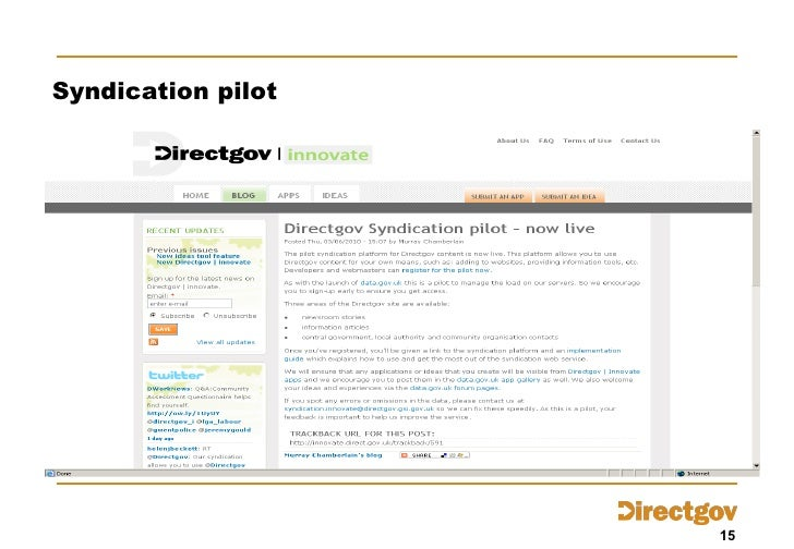 Syndication pilot